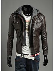 Langzaixiaozi Men's  Two-Piece Like Pu Leather Hoodies Jacket