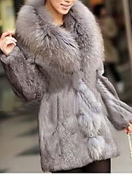 manga longa travesseiro de pele de coelho partido / casaco casuais (mais cores)