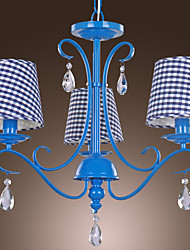 Modern 3 - Light Crystal Chandeliers with Fabric Shade in Check Pattern
