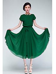 DOWISI Women's Green Chiffon Dress