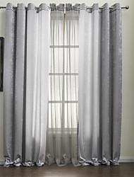 twopages® dois painéis cortinas de poupança de energia prata sólidas cortinas com pura conjunto