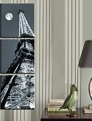 Trasferimenti su tela Arte Architettura Tall Building di notte Set di 3