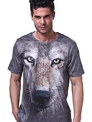 resistentes a la impresión 3D de manga corta camiseta de los hombres de secado rápido langzuyoudang ultravioleta gris transpirabilidad