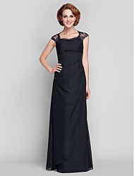 Lanting Bride® Sheath / Column Plus Size / Petite Mother of the Bride Dress Floor-length Sleeveless Chiffon / Lace withLace / Side
