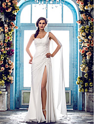 Sheath / Column One Shoulder Sweep / Brush Train Chiffon Wedding Dress with Beading Appliques by LAN TING BRIDE®