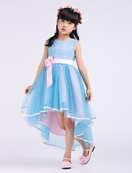 Formal Evening / Wedding Party Dress - Light Sky Blue A-line Jewel Asymmetrical Satin / Tulle