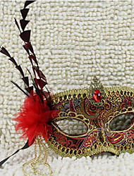 Piuma d'Oro e Nero Mardi Gras maschera