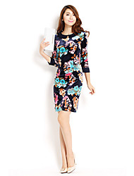 Waisting Print Dress Wintage de AMC Mujeres