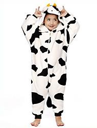 Kigurumi Pyjamas Ko Trikot/Heldragtskostumer Festival/Højtider Nattøj Med Dyr Halloween Sort/Hvid Patchwork Flanel Kigurumi For Barn