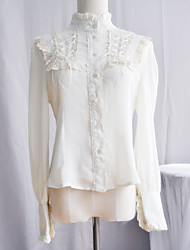 Long Sleeve Lace-up White Lace Klassische Lolita Bluse