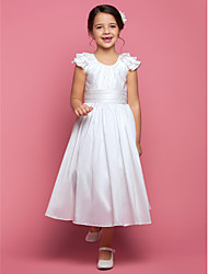 LAN TING BRIDE A-line Princess Tea-length Flower Girl Dress - Taffeta Scoop with Draping Ruching Ruffles