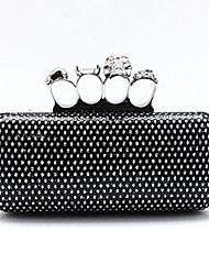 Colormoon Frauen glänzenden schwarzen Pu Ring Clutch Bag