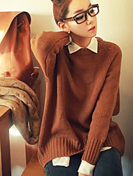 Women's Round Collar Solid Color Casual Pleated Loose Sweater