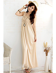Ferien Lady Almond Loose Fit Milk Silk Formal Dress