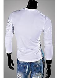 Herren T-shirt-Einfarbig Freizeit Baumwollmischung Lang-Schwarz / Weiß / Gelb / Grau