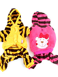 Dog Hoodie / Pants Yellow / Rose Dog Clothes Winter Cartoon / Stripe