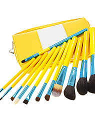 12Pcs High Quality Professional Yellow Makeup Brush Set