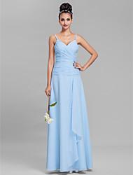 Lanting Bride® Floor-length Chiffon Bridesmaid Dress Sheath / Column Spaghetti Straps Plus Size / Petite with Criss Cross