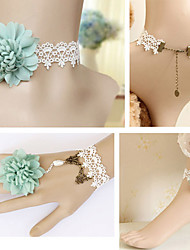Handmade Fresh Green Flower White Lace Sweet Lolita Accessories Set