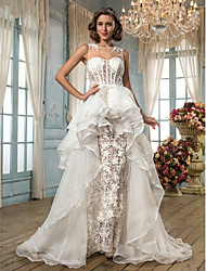 Lanting Bride A-line / Princess Petite / Plus Sizes Wedding Dress-Asymmetrical Jewel Lace / Organza / Tulle