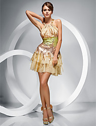 Homecoming Cocktail Party/Homecoming Dress - Champagne A-line/Princess Jewel/Halter Short/Mini Chiffon/Sequined