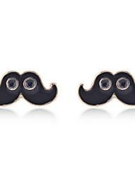 Enamel Mustache with Eyes Stud Earrings