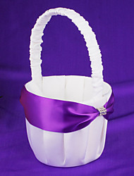 Flower Basket With Blue Ribbon Flower Girl Basket