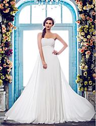 Lan Ting Sheath/Column Plus Sizes Wedding Dress - Ivory Court Train Strapless Chiffon