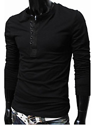 QN Herren Schwarz Baumwollmischungs Pure Color Round Neck Shirt