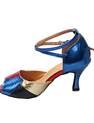 Customizable Women's Dance Shoes Latin/Ballroom Leatherette Customized Heel Multi-color