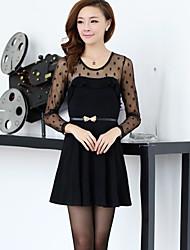 Cotton Jacquard Vestido Weave DOWISI da Mulher