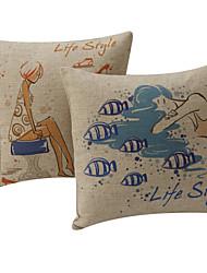 Set di 2 Country Lifestyle Lady cotone / lino cuscino copertura decorativa