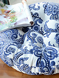 Modern Style Linen Blue Round Floral Pattern Chair Pad