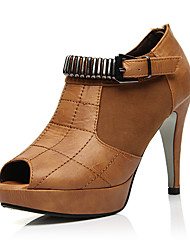Leatherette Stiletto Heel Bootie / Ankle Boots With Buckle