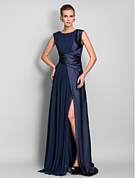 Formal Evening/Military Ball Dress - Dark Navy Plus Sizes Sheath/Column Jewel Sweep/Brush Train Stretch Satin/Chiffon
