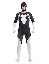 White and Black Spiderman Lycra Spandex Superhero Open Half-face Zentai