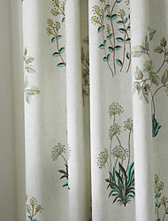 (Two Panels) Michelle Luxury® Country Botanical Grass Print Eco friendly Curtain