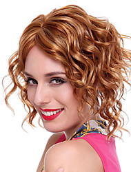 Capless High Quality Synthetic Short Golden Brown Curly Hair Wigs