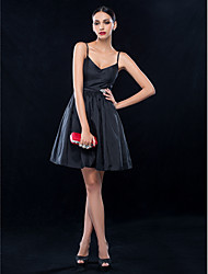 TS Couture® Cocktail Party / Wedding Party Dress - Black Plus Sizes / Petite A-line Spaghetti Straps Short/Mini Taffeta
