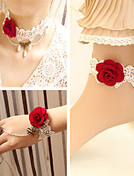 Handmade Flaming Rose White Lace Sweet Lolita Accessories Set