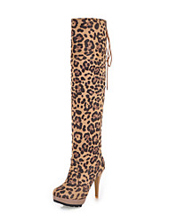 Leopard Print Suede Stiletto Heel  Over The Knee Boots Party Shoes(More Colors)