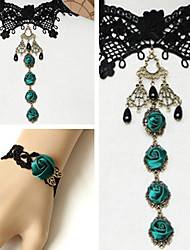 Handmade Bottle Green Roses Black Lace Classic Lolita Accessories Set