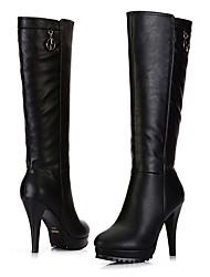 Nero pelle artificiale a spillo stivali tacco Medd donna (11cm)