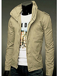 Langdeng Casual Fashion Stand Collar Jacket(Cream)