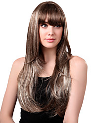 Capless Long Synthetic Mixed Straight Curly Hair Wig Full Bang