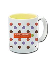 Personalizado Yellow Polka Dot Pattern Canecas