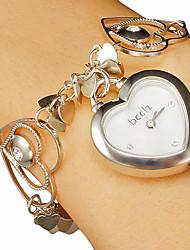 Женские Сердце формы Циферблат полые гравировка Группа Кварцевые аналоговые часы браслет