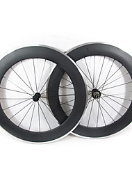 Farsports-700c Road 80mm Carbon Clincher Road Bicycle Wheels with Alloy Brake
