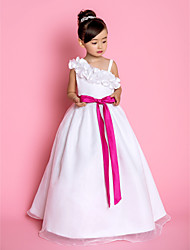 A-line Princess Floor-length Flower Girl Dress - Organza Straps with Bow(s) Flower(s) Sash / Ribbon