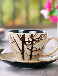 Copa com placa, cerâmica 6,5 oz, Padrão Árvore
